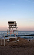 York Beach Photo Metal Prints - Empty Lifeguards Chair at Montauk Beach Metal Print by Rosemary Hawkins