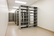 Office Space Prints - Empty Metal Shelves Print by Jetta Productions, Inc