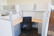 Florescent Lighting Photo Posters - Empty Office Cubicle Poster by Jetta Productions, Inc