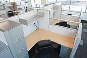 Florescent Lighting Prints - Empty Office Cubicles Print by Jetta Productions, Inc