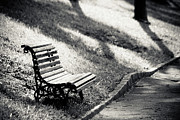 Edge Posters - Empty Park Bench On Edge Poster by (c) Conrado Tramontini