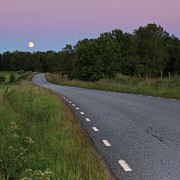 Full Moon Prints - Empty Road In Countryside Landscape Print by Jens Ceder Photography
