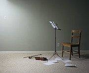 Flooring Prints - Empty Room With Chair, Violin And Sheet Music On Floor Print by Jan Stromme