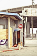 Stop Sign Framed Prints - Empty Security Guard Shack Framed Print by Eddy Joaquim