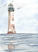 Lighthouse Drawings Framed Prints - Empty Shores Framed Print by Eva Ason