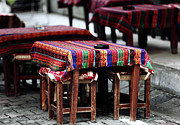 Outdoor Cafe Photo Prints - Empty Tables in Istanbul Print by John Rizzuto