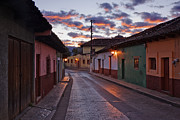 Morning Charm Prints - Empty Town Street at Dawn Print by Jeremy Woodhouse
