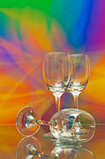 Glass Reflection Glass Art Posters - Empty Wine Glass Poster by Anuwat Ratsamerat