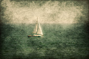 Sailboat Ocean Mixed Media Posters - Empty Yacht  Poster by Svetlana Sewell