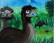 Emu Paintings - Emu Poopsy Do by Jean Kieffer