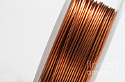 Electrical Wiring Prints - Enamel Coated Copper Wire Print by Photo Researchers, Inc.