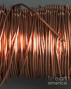 Electrical Wiring Prints - Enamel Coated Copper Wire Print by Photo Researchers
