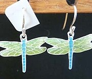 Wings Jewelry - Enameled Dragonfly Earrings by Joan  Jones