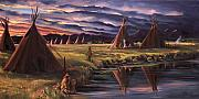 Plains Indians Framed Prints - Encampment at Dusk Framed Print by Nancy Griswold