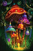 Mushrooms Posters - Enchanted Evening Poster by Philip Straub