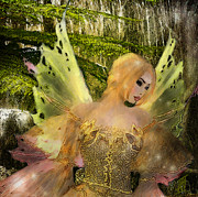 Golds Posters - Enchanted Forest - Fae of the Forest Waters Poster by Rosy Hall