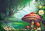 Mushroom Posters - Enchanted Forest Poster by Philip Straub