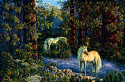 Unicorns Posters - Enchanted Forest Poster by Steve Roberts