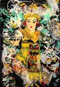 Woman Glass Art Posters - Enchanted Legong Dancer of Bali Poster by Ferril Nawir