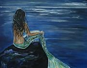 Little Mermaid Paintings - Enchanted Mermaid by Leslie Allen