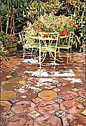 Patio Prints - Enchanted Patio Print by David Lloyd Glover