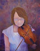 Violin Drawings Prints - Enchanted Prelude Print by Loretta Luglio