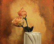 Burnt-orange Framed Prints - Enchanted Roses Framed Print by Marsha Heiken