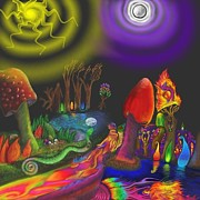 Trippy Digital Art Originals - Enchanted Threshold by Jake Updegrove