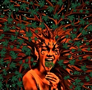 Faries Digital Art - Enchanted Tree Sprite with leaves by Tisha McGee