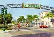 Downtown Painting Metal Prints - Encinitas California Metal Print by Mary Helmreich