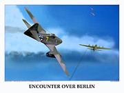 World War Two Photo Posters - Encounter Over Berlin Poster by Jerry Taliaferro