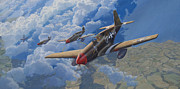 Mustang Aviation Art Paintings - Encounter by Steven Heyen