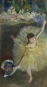 Ballet Dancers Pastels Metal Prints - End of an Arabesque Metal Print by Edgar Degas