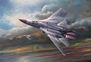 Usaf Painting Framed Prints - End of an Era F111 Qld final flight Framed Print by Colin Parker