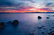 Alki Beach Framed Prints - End of day at Alki Beach Framed Print by Dan Mihai