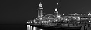 Sky Line Art - End of Navy Pier in Black and White by Twenty Two North Gallery