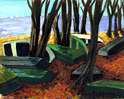Lake Scene Paintings - End of Summer by Ethel Vrana