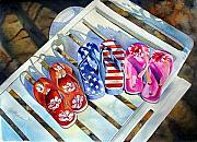 Flip-flops Paintings - End of Summer by Gail Zavala