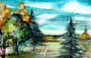 Hills Drawings - End of Summer by Mindy Newman