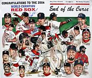 Baseball Drawings Posters - End Of The Curse Red Sox newspaper poster Poster by Dave Olsen