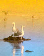Seagull Digital Art Metal Prints - End of the Day Metal Print by Betty LaRue