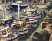 Genoa Drawings Posters - End of The Day Fishing Boats Genoa Poster by Randy Sprout