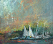 Sailboats Mixed Media - End of the Day by Pippi Johnson