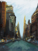 Cityscape Mixed Media Posters - End of the Day Poster by Russell Pierce