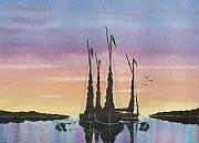 Riverbank Mixed Media Posters - End Of The Days Sailing Poster by David Bishop