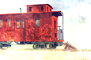 Caboose Digital Art Prints - End of the line Print by Carol and Mike Werner