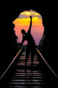Sunset Greeting Cards Posters - End of the Line Poster by Debra and Dave Vanderlaan