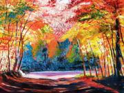 Impressionism Tapestries Textiles Originals - End of the Road by David Lloyd Glover