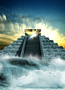 Mayan Mythology Posters - End Of The World In 2012 Conceptual Image Poster by Victor Habbick Visions