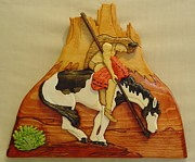 Intarsia Sculpture Posters - End of Trail Poster by Russell Ellingsworth